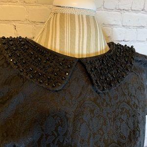 Kensie Dresses - Kensie black cap sleeve, jeweled collar dress, M